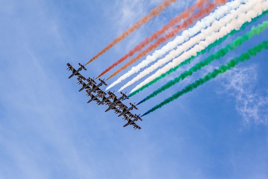 "BARI, ITALY - 04 NOVEMBER 2011: The Italian demonstration team Frecce Tricolori performes at the ""Anniversary of the end of the First World War"" Airshow on November 04, 2011 in Bari, Italy"
