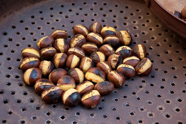 Roasted chestnuts in the street of Rome, Italy